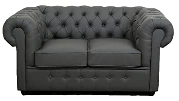 Chesterfield Traditional Sofa Set Grey Leather Buttoned Low ...