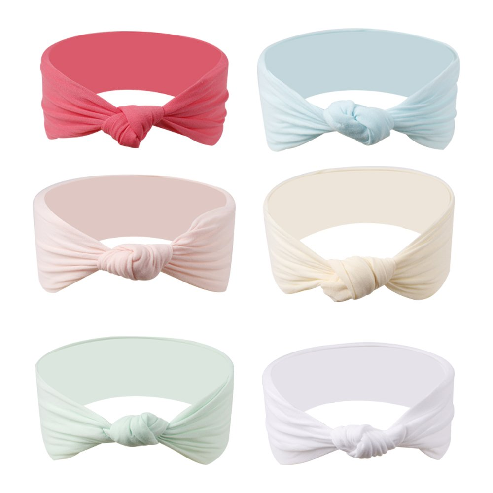 Ncmama Baby Headbands Girls Nylon Elastic Knotted Hairband For Toddler Infant Pack of 6