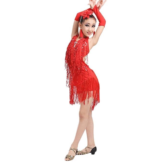 feiXIANG Bebé recién Nacido de la niña Borla práctica Latina Traje de Falda Ballet Traje de Baile Latino Traje de salón: Amazon.es: Electrónica