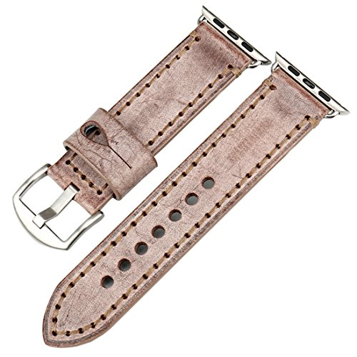 MAIKES Bridle Leather Watch Strap Replacement for Apple Watch 44mm 40mm 42mm 38mm Series 4 3 2 1 iWatch Watchbands Compatible with Apple Watch Band (38mm, Brown+Silver Buckle)