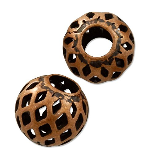 (Round Filigree Bead 8mm Antique Copper Plated (10-Pcs))
