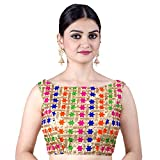 Chandrakala Women's Party Wear Bollywood Readymade MultiGold Saree Blouse Padded Resham Work Choli (B109MUL1)