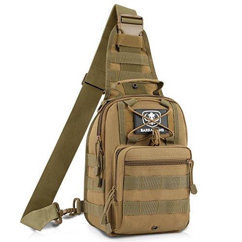 Barbarians EDC Molle Sling Bag, Military Shoulder Sling Backpack Chest Pack Bag Tackle Storage Bag Satchel Tan (Edc Military)
