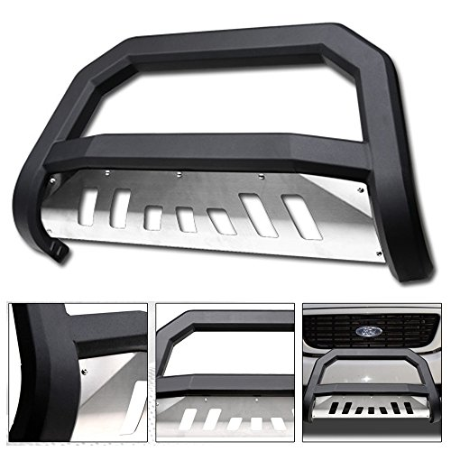 VXMOTOR 1997-2003 Ford F150 / F250 ; 2004 Heritage ; 1997-2002 Ford Expedition Matte Black AVT Style Bold Bull Bar Brush Push Front Bumper Grill Grille Guard With SS Aluminum Skid Plate (Brush Guard Used)