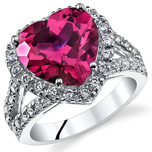 6.25 Carats Heart Shape Created Ruby Ring Sterling Silver Size 7