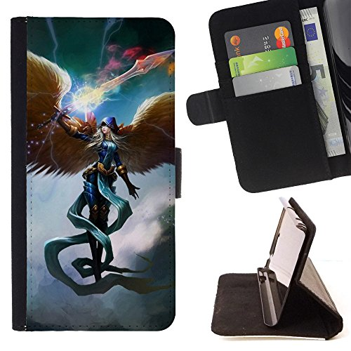God Garden - FOR Apple Iphone 5 / 5S - Angels Wings - Glitter Teal Purple Sparkling Watercolor Personalized Design Custom Style PU Leather Case Wallet Fli