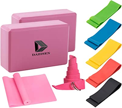 Amazon.com : DAZISEN Yoga Set - Latex Exercise Bands for ...