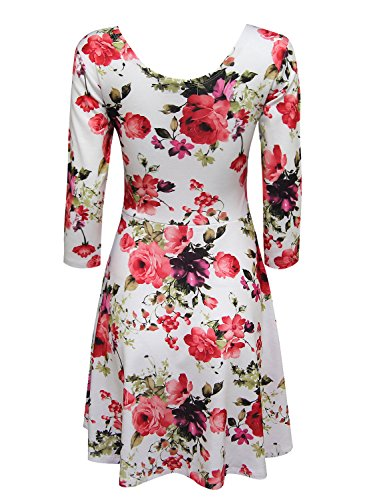 Scoop Print Sleeve Flare Floral TAM Dress Neck WARE Women Long WhiteRed XPwRtwxYZq