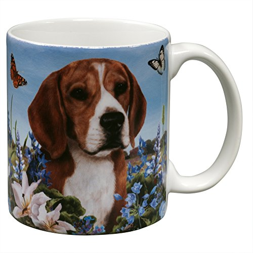 Amazingly Lifelike Beagle and Butterfly Garden Mug ()