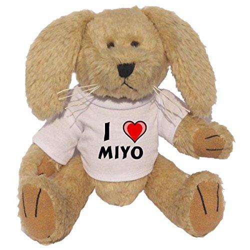 Plush Bunny with I Love Miyo T-shirt (first name/surname/nickname)