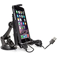 iBolt iPro2 MFI Approved Car / Desk Dock / Mount / Charger / for iPhone 5 / 5c / 5s / 6 / 6+ / 7 / 7+ with integrated Lightning Cable - Black - (Certified Refurbished)