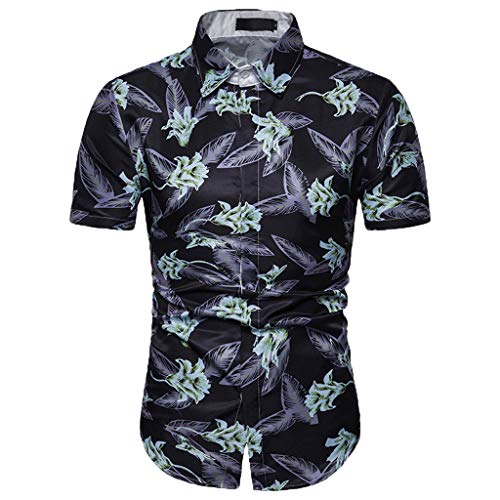 Toimothcn Men's Slim Fit Polo Shirt Short Sleeve Vintage Floral Printed Button Down Shirt Top Blouse(Blue,XL)