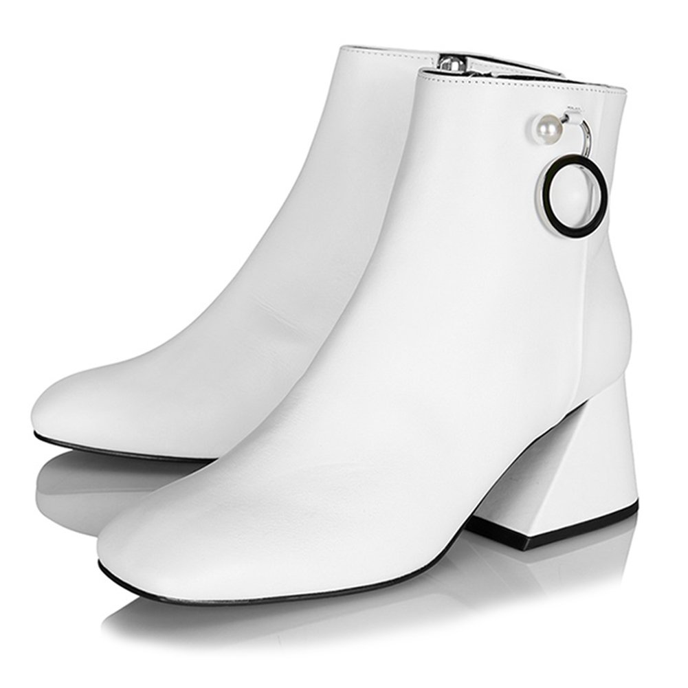 Yuul Yie Genuine Leather Square Toe Rectangular-Shaped Middle Heel Pumps For Women 8.5 White