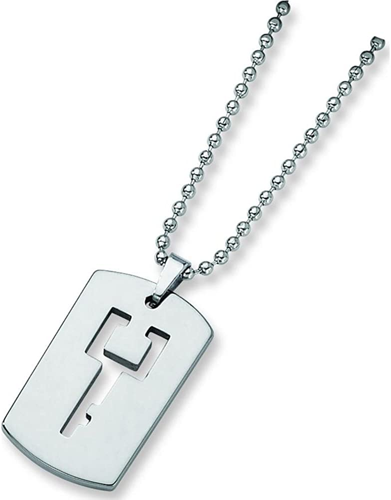 FindingKing Tungsten Engravable Dog Tag Mens Pendant Necklace 22