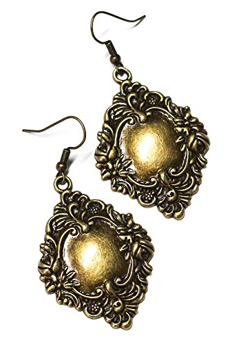 Antique Baroque Brass Charm Earrings
