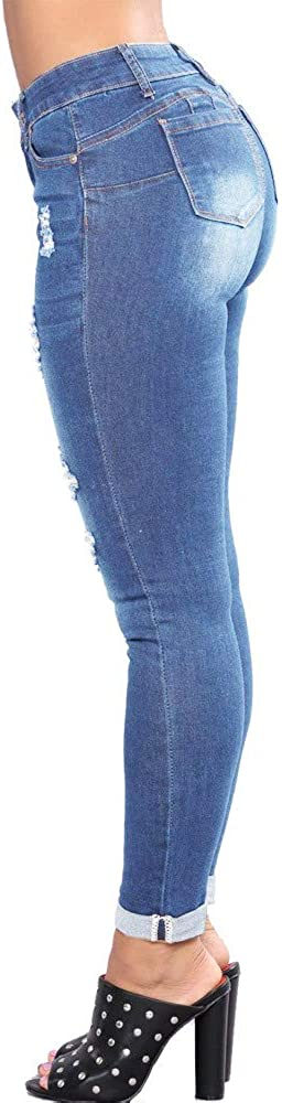 WUAI-Women Classic High Waisted Butt-Lifting Stretchy Skinny Jeans Denim Pencil Pants Plus Size