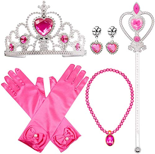 Princess Dress Up Costume Accessories Aurora Set For Princess cosplay Gloves Tiara Wand and Necklace (7 Pieces)