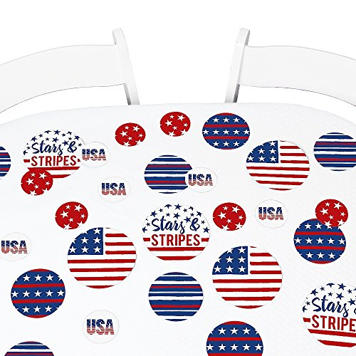 Big Dot of Happiness Stars & Stripes - Memorial Day USA Patriotic Party Giant Circle Confetti - Party Decorations - Large Confetti 27 Count