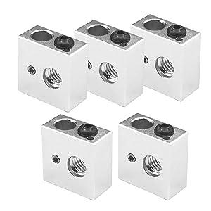 Saiper Aluminum Heater Block Specialized for MK7 MK8 Makerbot Reprap 3D Printer Extruder Kit (Pack of 5pcs)