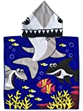 Athaelay Tiger Shark Child Hooded Poncho Towel with Navy Color Printing lightweight 200g and Ultra Breathable Summer Beach/Pool Hoodie Towels for Boys