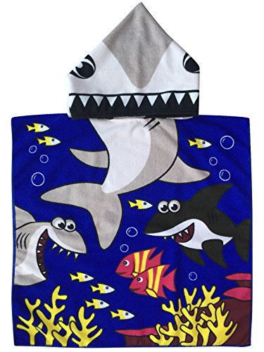 Athaelay Tiger Shark Hooded Poncho Towel for Kid/Baby