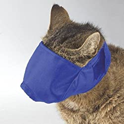 Soft Adjustable Cat Muzzles Perfect For Grooming Three Colors and Muzzle Sizes- Blue-Large