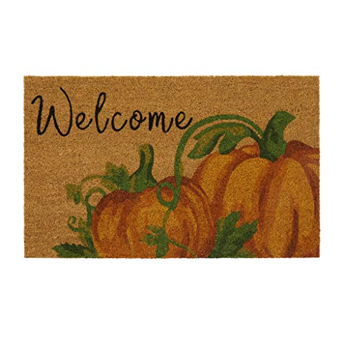 Elrene Home Fashions Farmhouse Living Fall Welcome Pumpkin Coir Mat, 18