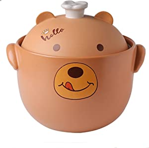Earthenware Clay Pot Casserole For Soup And Stew Casserole With High Temperature Resistance Cute Bear Pattern-4L