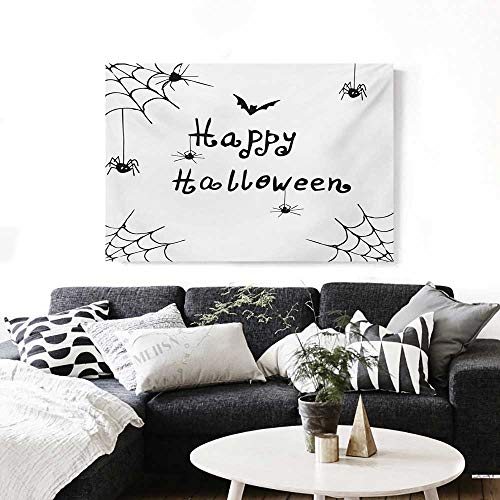 Spider Web Canvas Wall Art Happy Halloween Celebration Monochrome Hand Drawn Style Creepy Doodle Artwork Print Paintings for Home Wall Office Decor 28