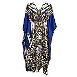 Mogul Interior Womens Caftan Dress Blue Tiger Print Bikini Cover Up Kaftan OneSize