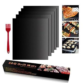 BBQ Mat Teflon barbacoa Alfombrilla para barbacoa juego de 5 alfombrillas antiadherentes de teflón para barbacoa