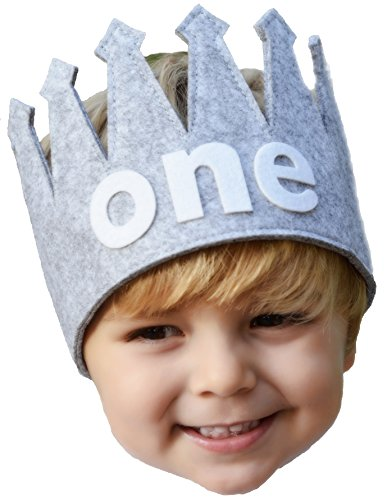 Classy Baby Boy First one Birthday Gray and White Party Crown -