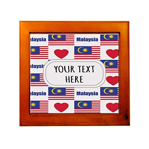 Ceramic Tile in Wood Frame Custom Malaysia Flag Heart Pattern ()