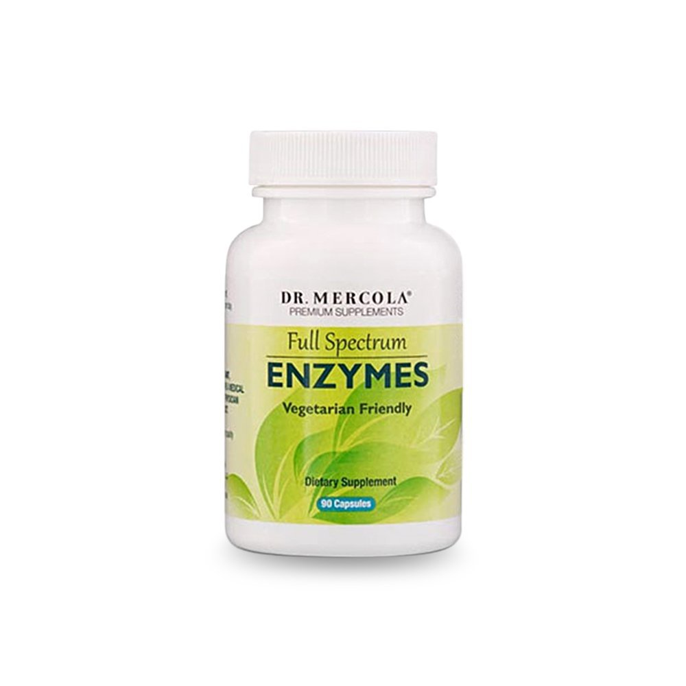 Dr. Mercola Full Spectrum Vegetarian Digestive Enzymes – 90 Capsules – Advanced Formulation w/ 11 Pancreatic Enzymes Including Amylase, Protease, Lipase & Lactase – Support Digestive System Health