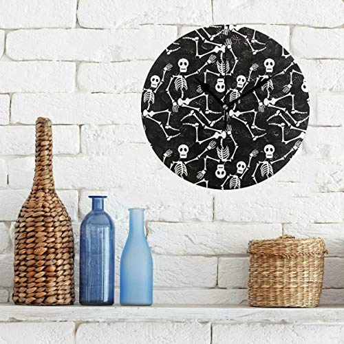 Limiejo Wall Clock for Decoration Black White Dead Dance Skeletons Wallpaper Non-Ticking Round Silent Diamond Display Wall Clocks Painting Dial Kitchen Bedroom Decor School Clocks for Kids
