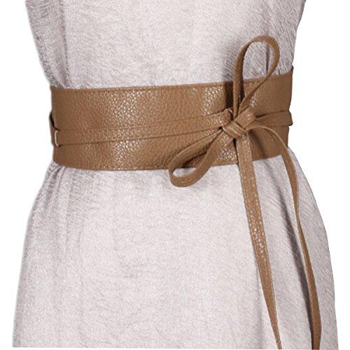 ft PU Leather Wide Self Tie Wrap Around Waist Band Dress Belt (Camel, Free) (Camel Tie)