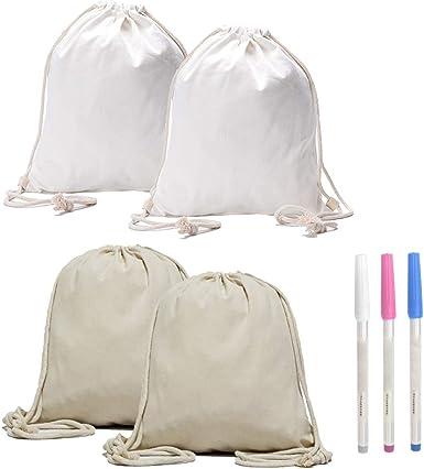 IWILCS 4 piezas de algodón natural color de la compra, mochila con cordón de algodón natural, con 3 bolígrafos, bolsa de algodón, bolsas de algodón orgánico.: Amazon.es: Ropa y accesorios