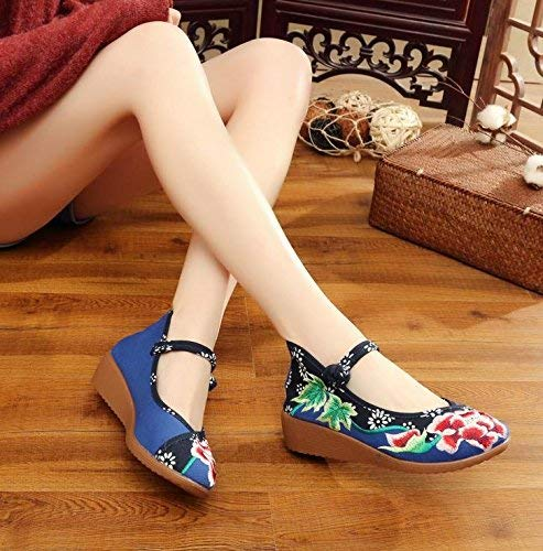 Eeayyygch Bestickte Schuhe Leinen Sehnensohle Ethno-Stil Ethno-Stil Ethno-Stil Frauenschuhe Mode bequem lässig blau 38 (Farbe   - Größe   -) 991314