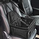 HIPPIH Collapsible Pet Booster Car Seat - Two Support Bars, Portable Small Dog Cat Car Carrier with Safety Leash and Zipper Storage Pocket (All Black)