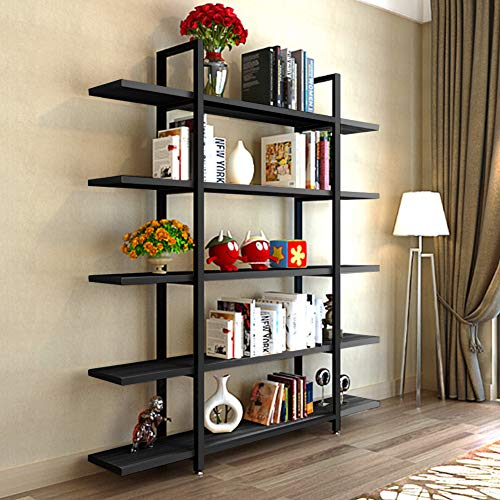 (Tribesigns 5-Tier Bookshelf, Vintage Industrial Style Bookcase 72 '' H x 12'' W x 47''L, Black)