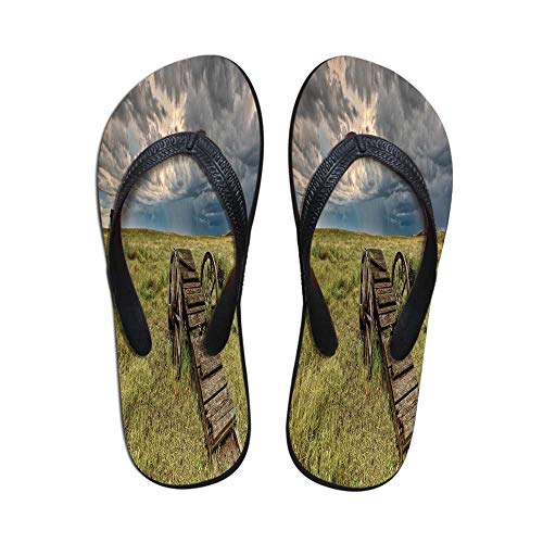 Barn Wood Wagon Wheel Comfortable Flip Flops,Old Prairie Cart Agricultural Field Ranch Dramatic Stormy Sky for Pool Garden,US Size ()