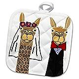 3dRose All Smiles Art Love - Funny Cute Llama Bride and Groom Wedding Art - 8x8 Potholder (phl_255713_1)