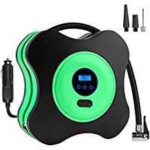 Portable Air Compressor Pump, CUXUS 12V DC Digital Tire Inflator, 150 PSI with Digital Gauge, 3 High-air Flow Nozzles & Adaptors for Cars, Bicycles and Basketballs and Other Inflators