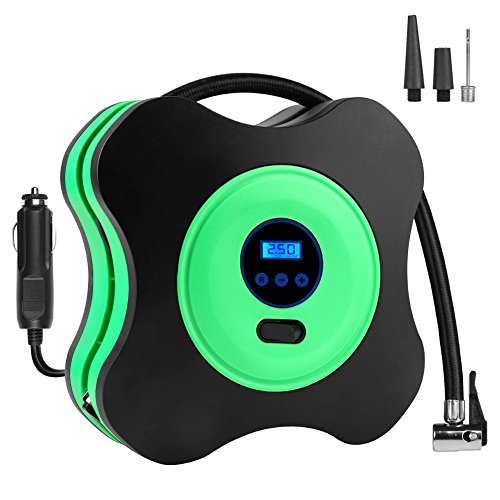 CUXUS Portable Air Compressor Pump 150PSI 12V, Digital Tire Inflator, Auto Tire Pump with Emergency Led Lighting and Long Cable for Car, Bicycle, Motorcycle and Balls (green)