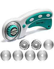 BONROB Rotary Cutter Set with Rotary Cutter Blades 45mm(6pcs Replacements), Perfect Set for as Sewing, Quilting, Fabric Cutting, Paper Cutting, Leather Cutting and Other DIY Projects BO005(45mm) (green)