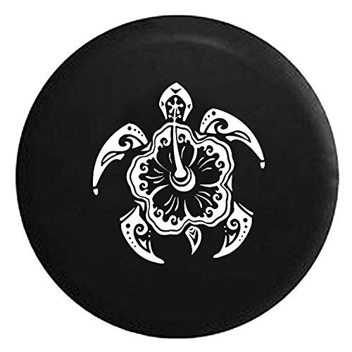 Hibiscus Flower Sea Turtle in the Ocean Spare Jeep Wrangler Camper SUV Tire Cover White Ink 32 in