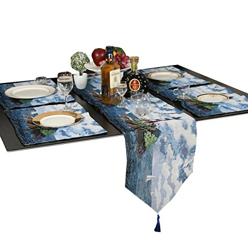 Cotton Linen Table Runner and Placemats, Mediterranean Lighthouse Cotton Soft Decoration Mats Table Cloth Coffee Mat (1 Table Runner + 4 Placemats) (Mediterranean Set Table)