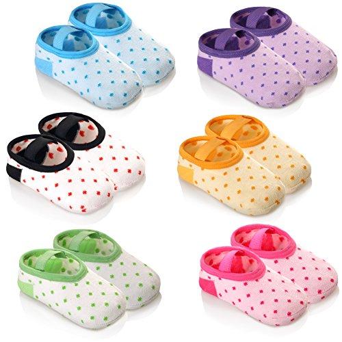 Eocom 6 Pairs Anti-slip Baby Floor Cotton Socks For 12-36 Months Toddler and Infants Boy or Girls (Polka dot)