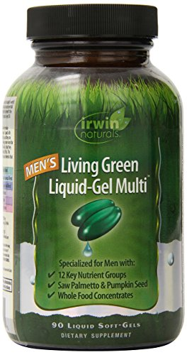 Men's Living Green Multi Vitamin by Irwin Naturals, Key Nutrients and Whole Food Concentrates, 90 Liquid Softgels