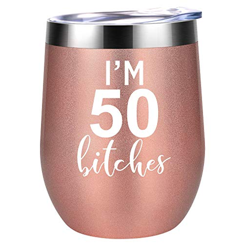 I'm 50 - Funny 50th Birthday Gifts for Women - Best Turning 50 Year Old Birthday Gift Ideas for Wife, Mom, Sisters, Her, Friends, Coworkers - Coolife 12 oz Stainless Steel Wine Tumbler Insulated Cup (Christmas Gifts For 50 Year Old Mom)